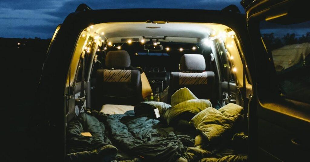 car camping sleeping