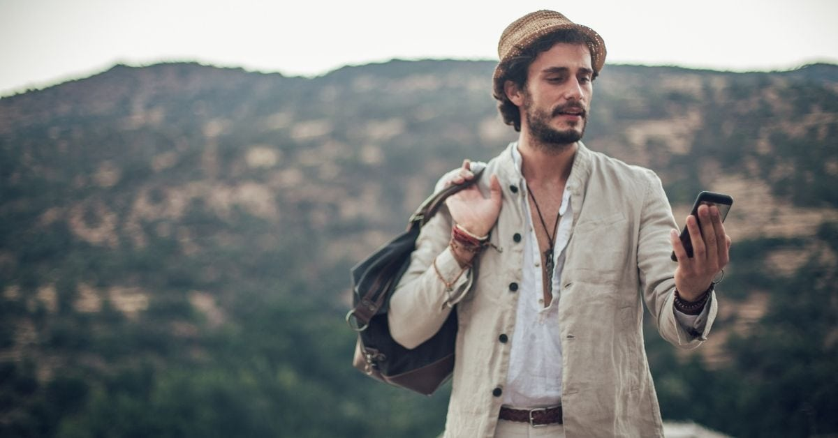 Traveler with a phone