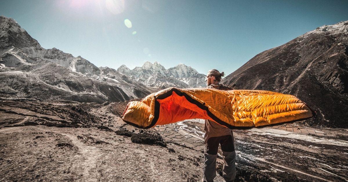 sleeping bag in backpack